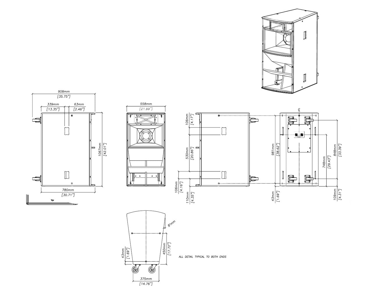 Martin Audio TH Series THV Tech Drawing