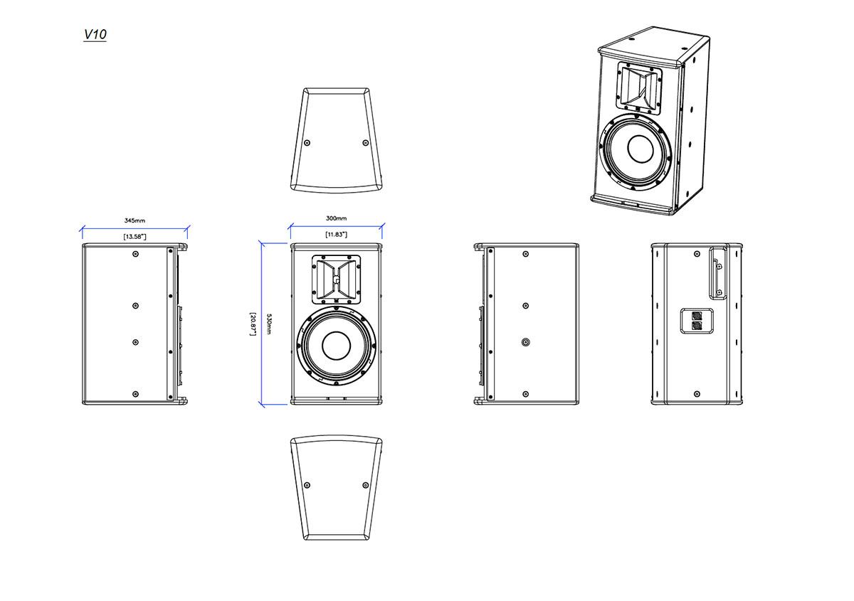 Martin Audio V.Series V.10 Tech Drawing