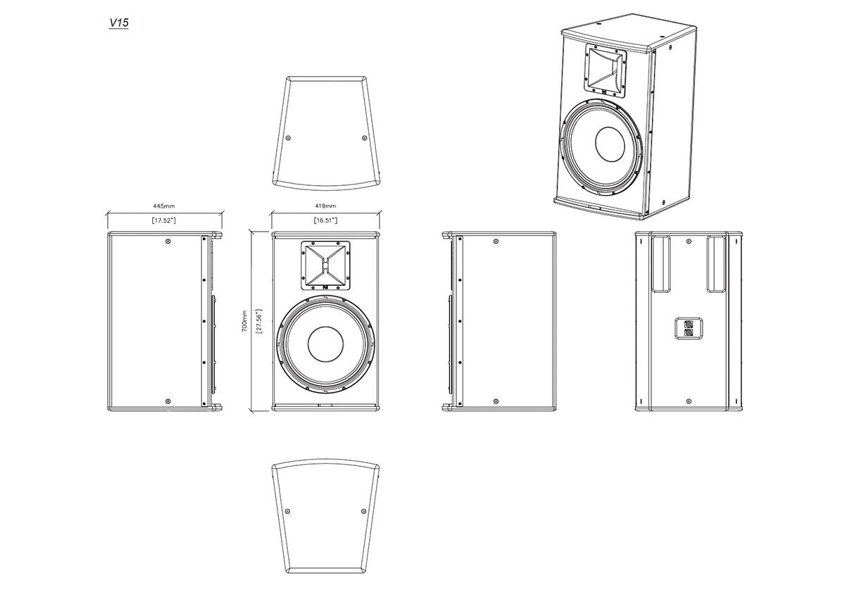 Martin Audio V.Series V.15 Tech Drawing