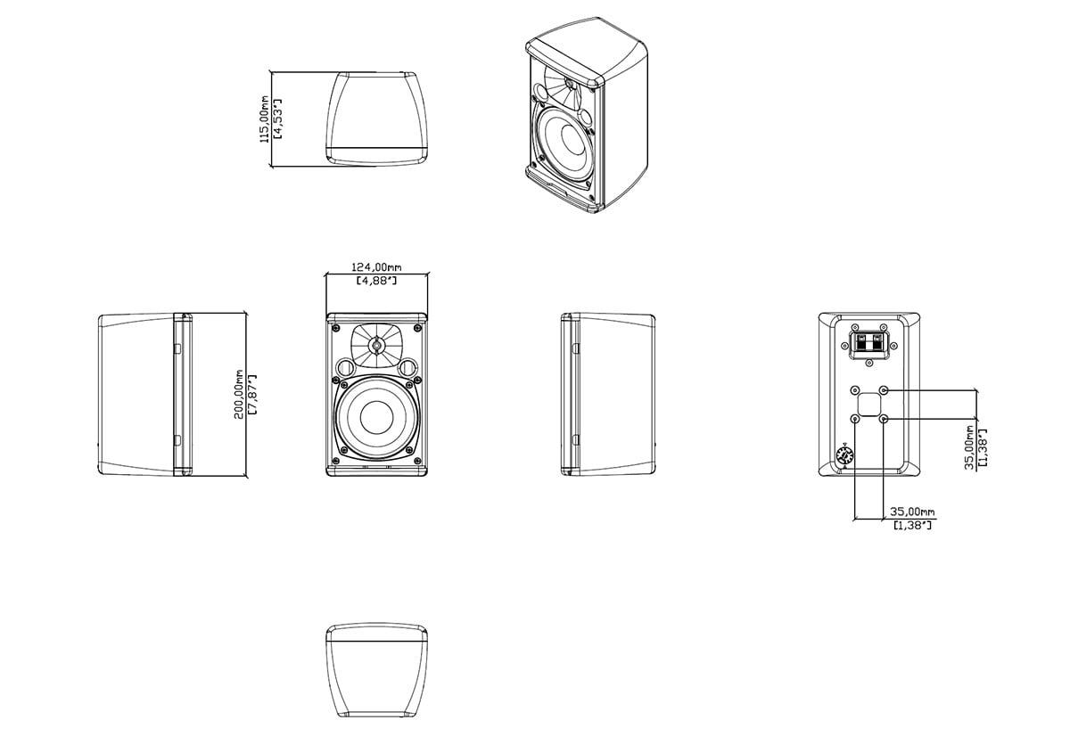 Martin Audio Adorn A40T Tech Drawing