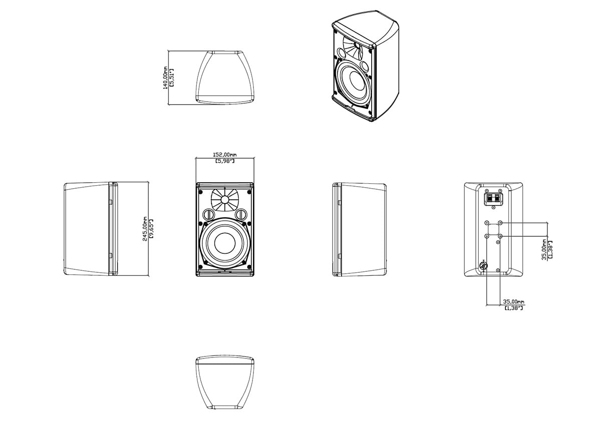 Martin Audio Adorn A55T Tech Drawing