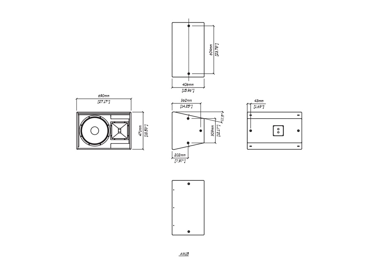 Martin Audio AM15 Tech Drawing