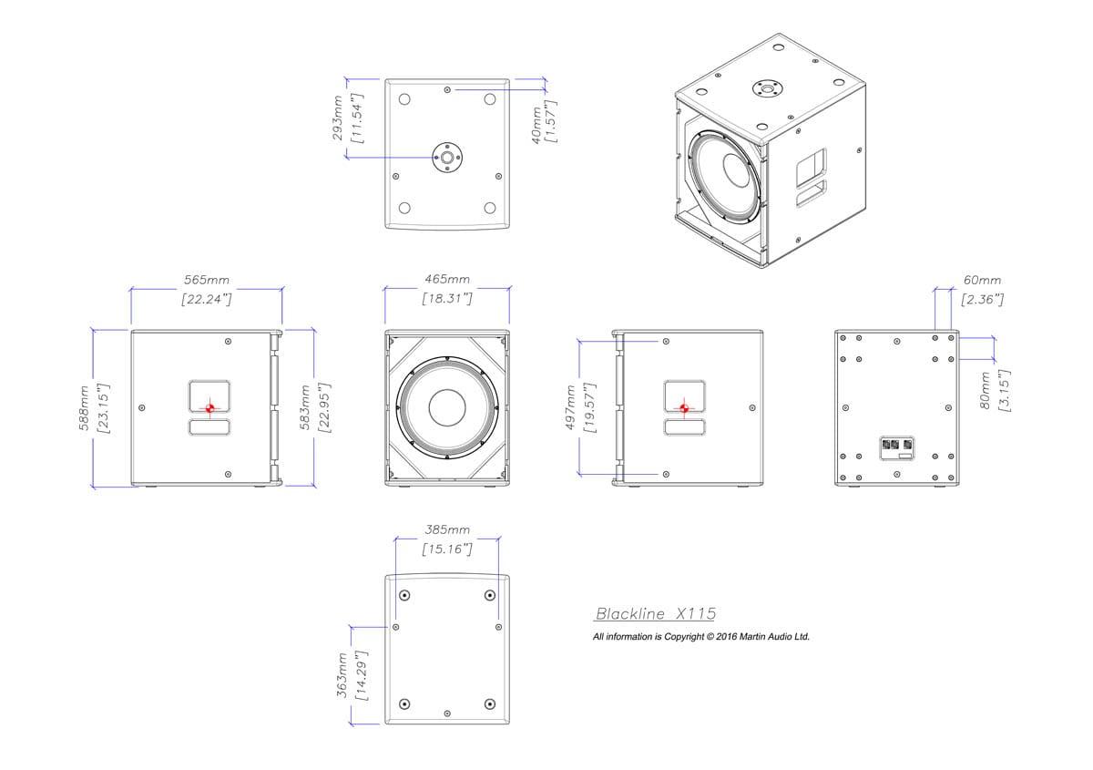 Martin Audio Blackline X115 Tech Drawing