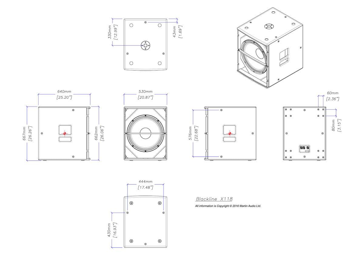 Martin Audio Blackline X118 Tech Drawing