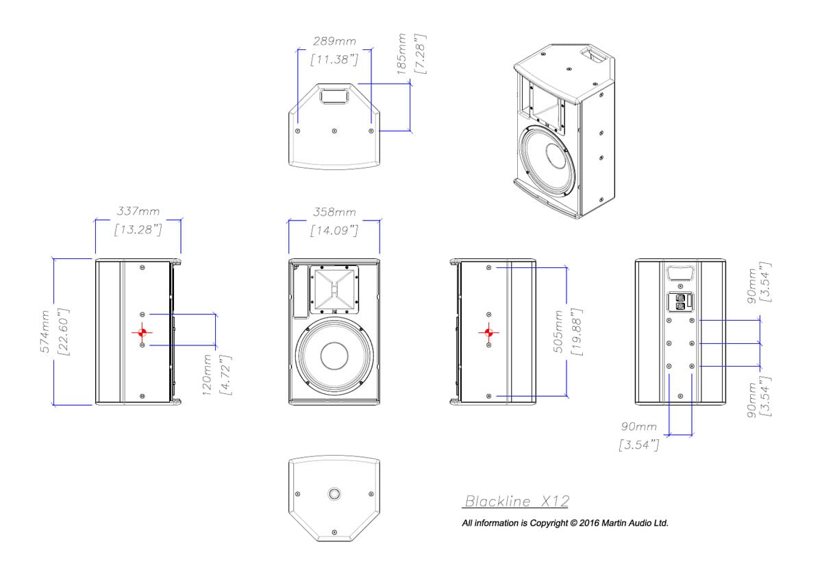Martin Audio Blackline X12 Tech Drawing