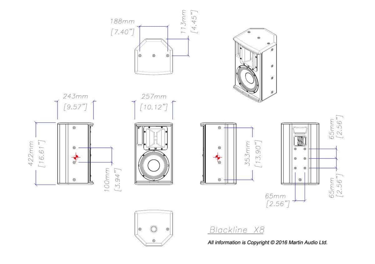 Martin Audio Blackline X8 Tech Drawing