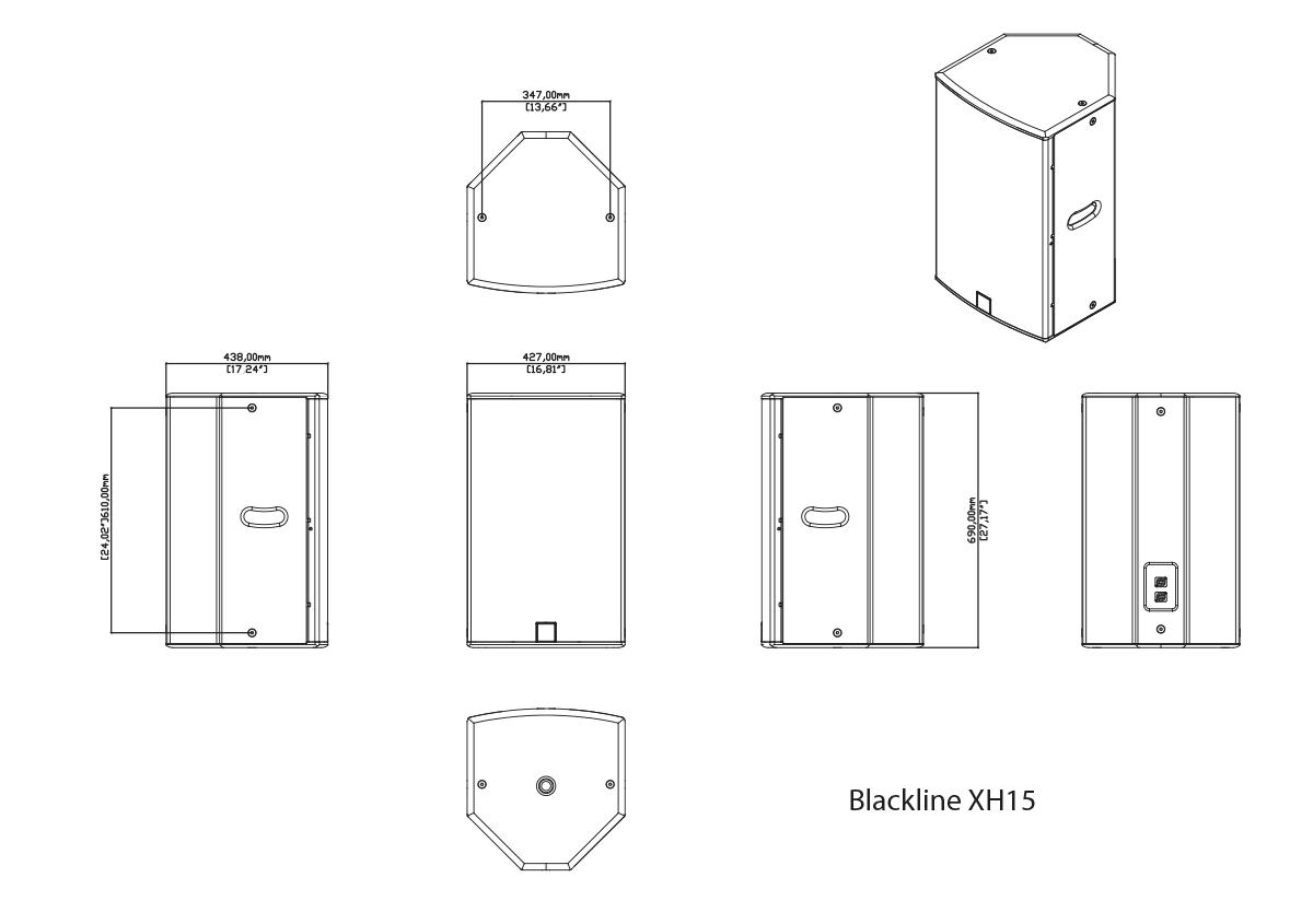 Martin Audio Blackline XH15 Tech Drawing