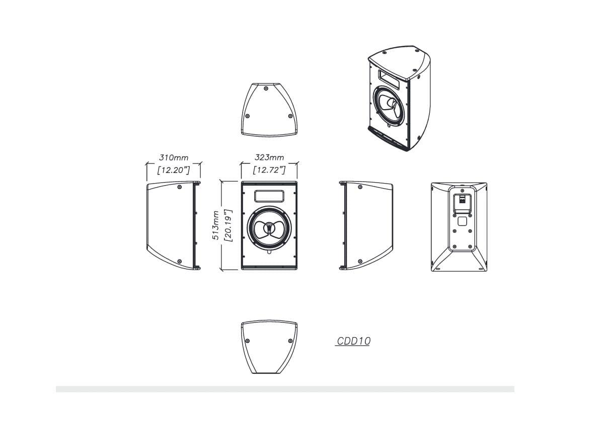 Martin Audio CDD10 Tech Drawing