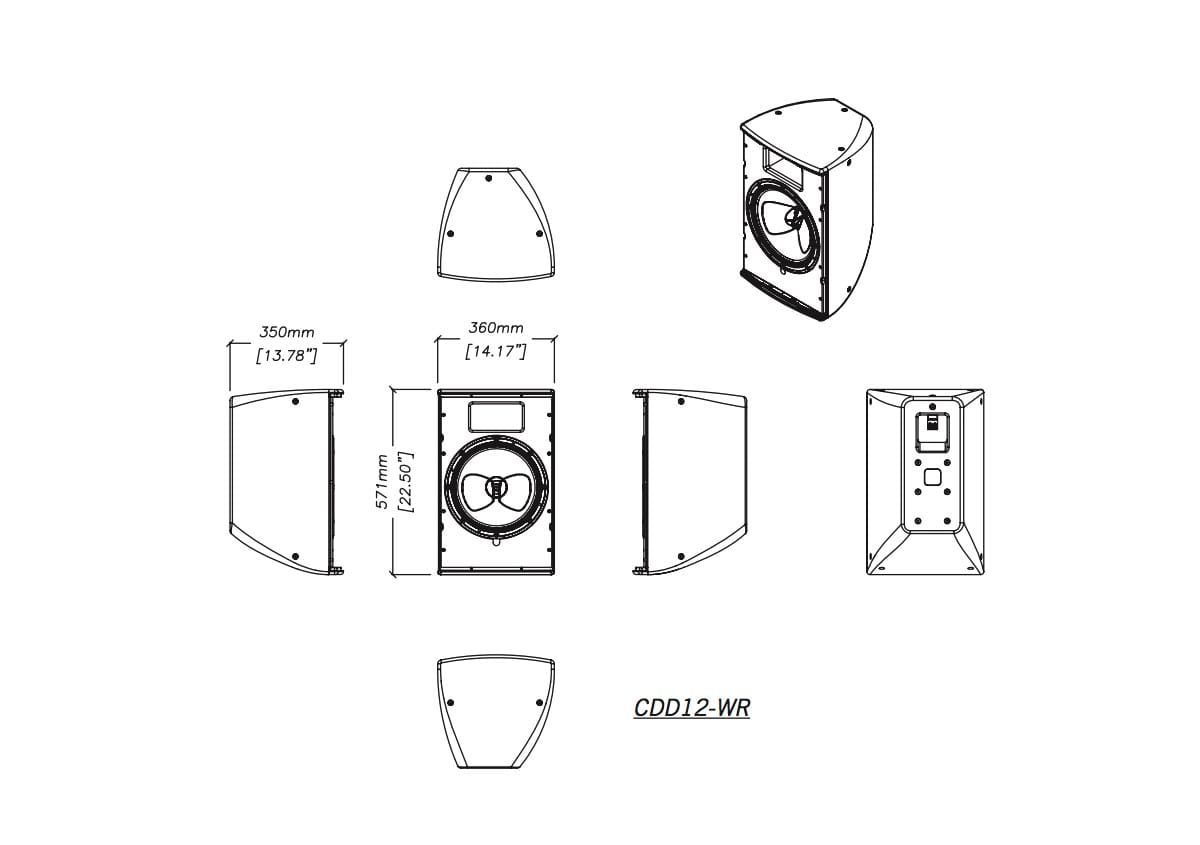 Martin Audio CDD12-WR Tech Drawing