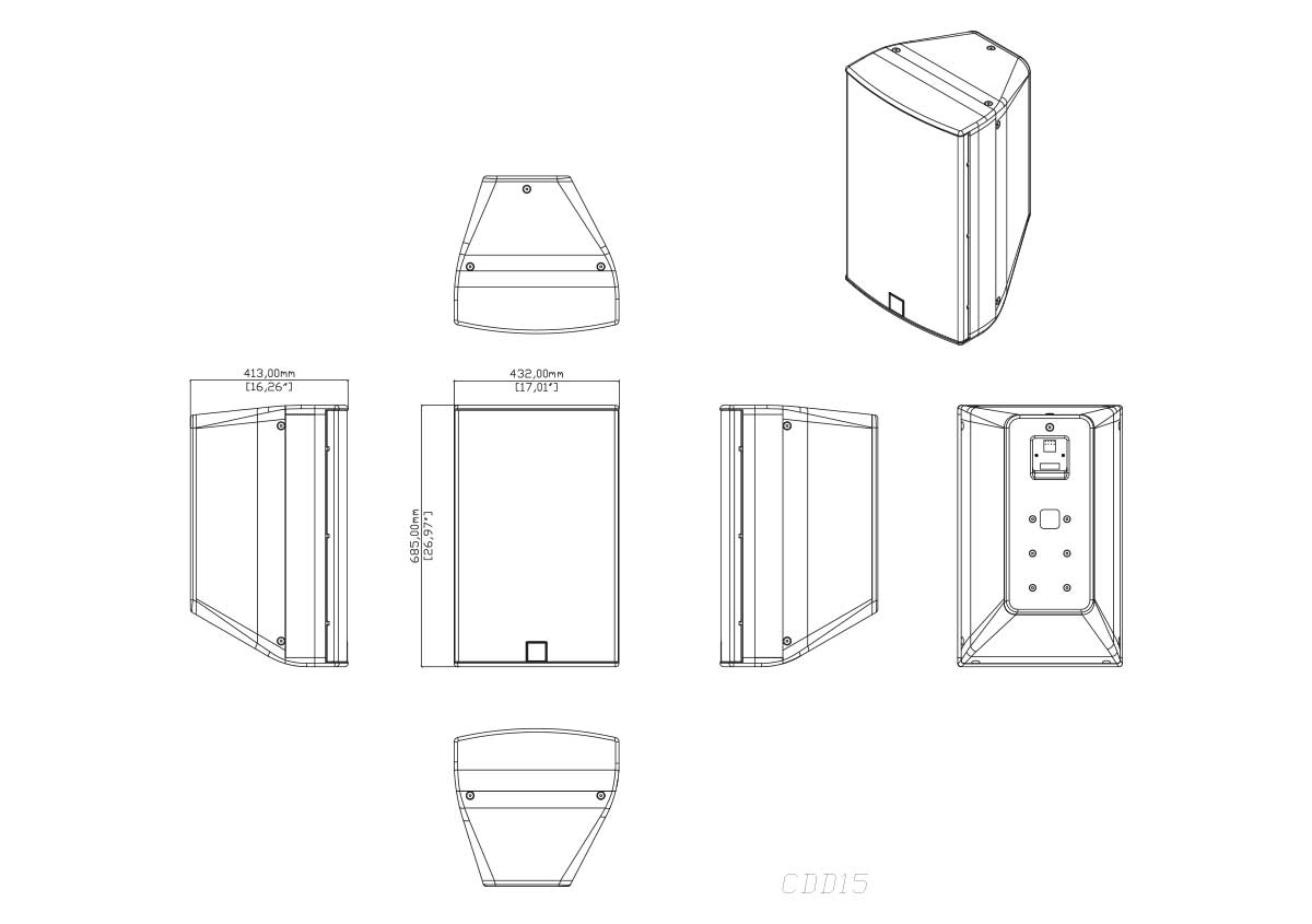 Martin Audio CDD15 Tech Drawing