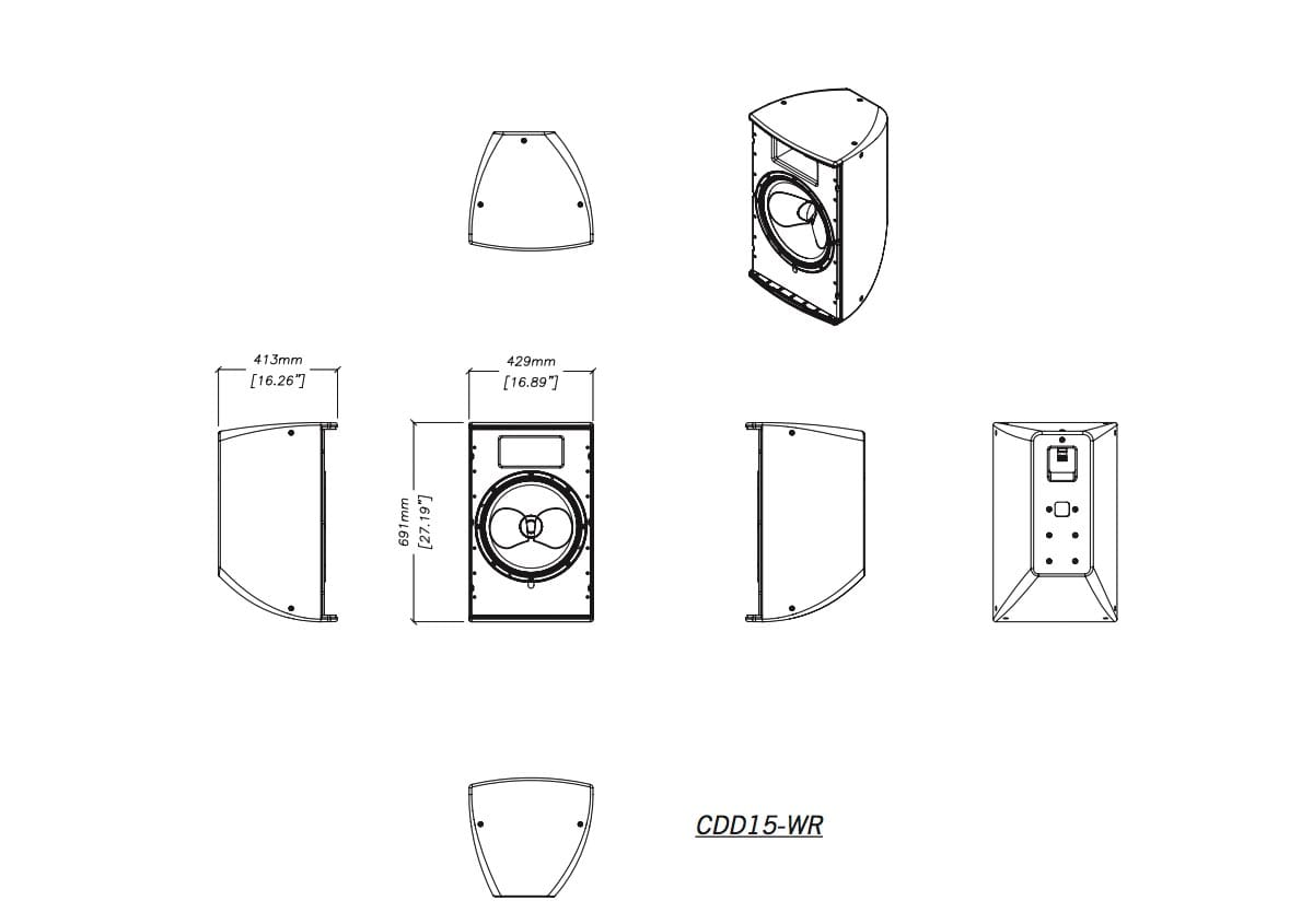 Martin Audio CDD15-WR Tech Drawing