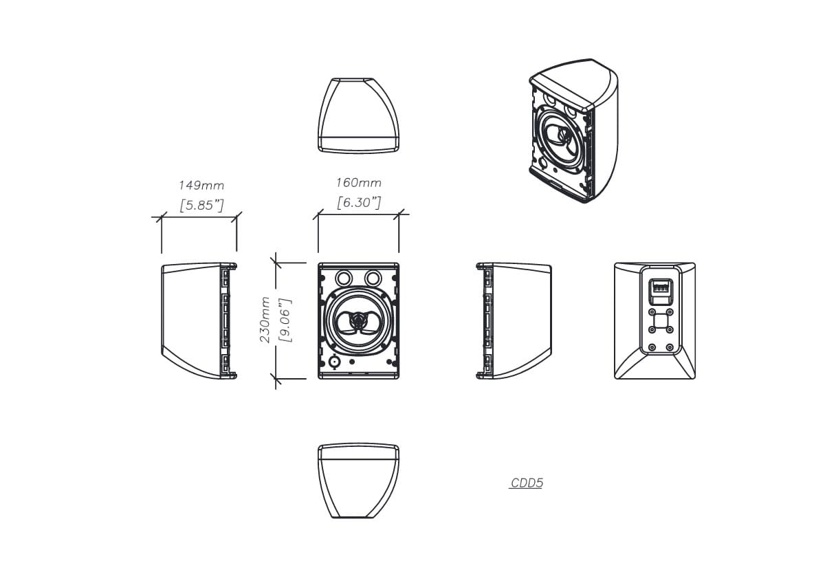 Martin Audio CDD5 Tech Drawing