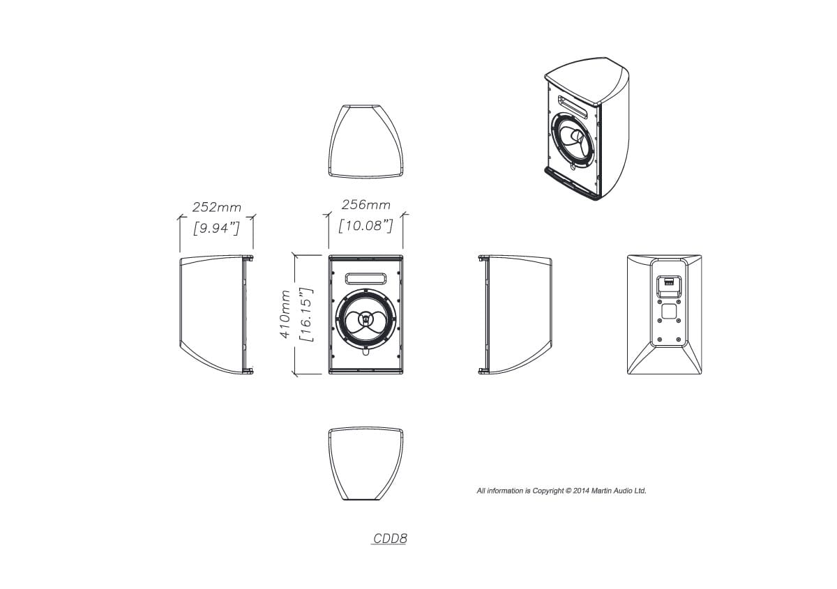Martin Audio CDD8 Tech Drawing