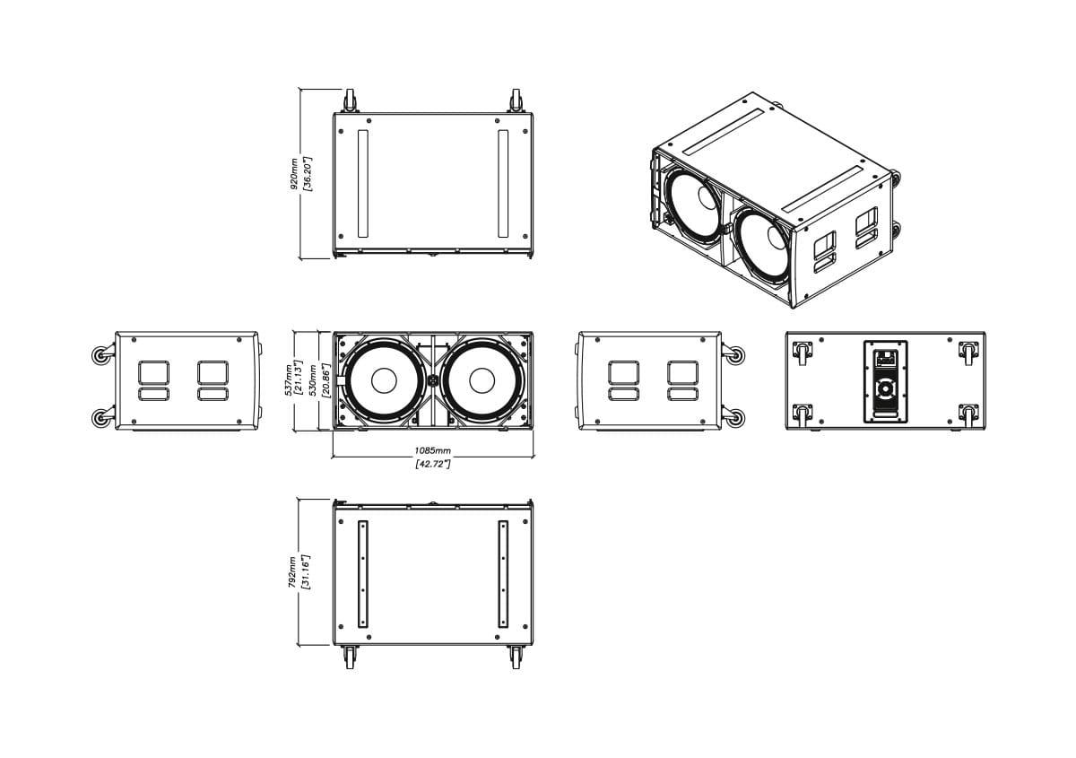 Martin Audio CSX-LIVE 218 Tech Drawing