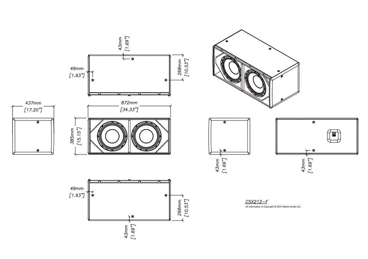 Martin Audio CSX212-WR Tech Drawing