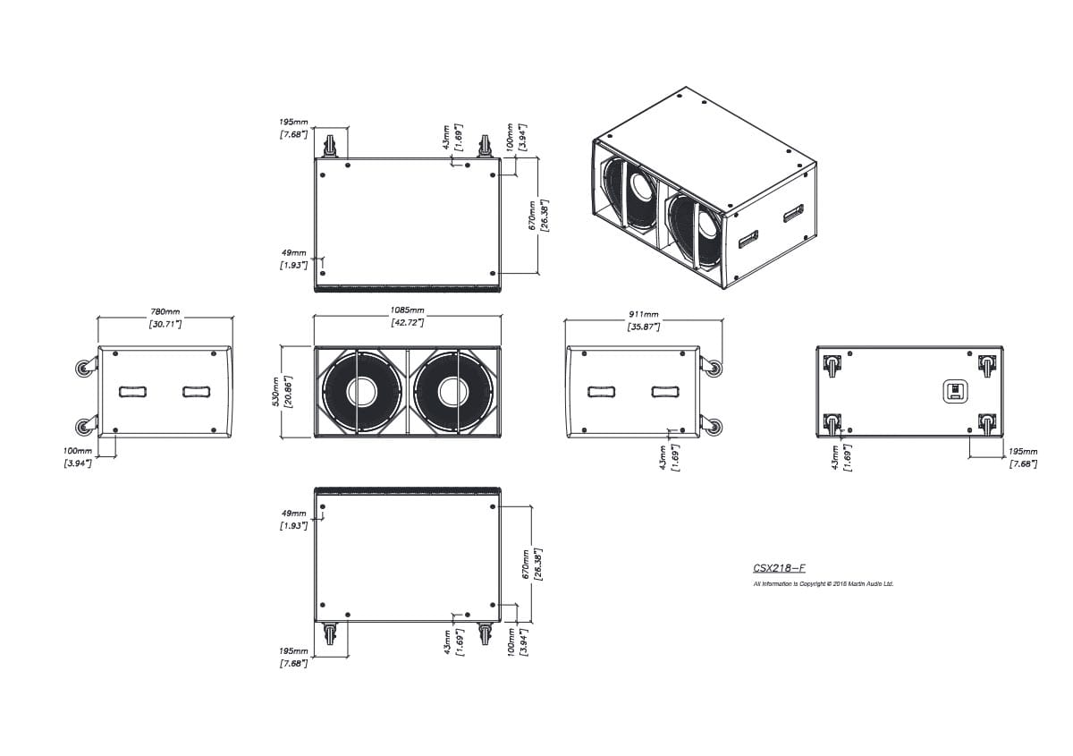 Martin Audio CSX218 Tech Drawing