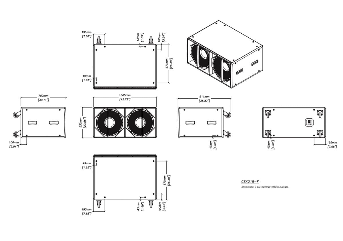 Martin Audio CSX218-WR Tech Drawing