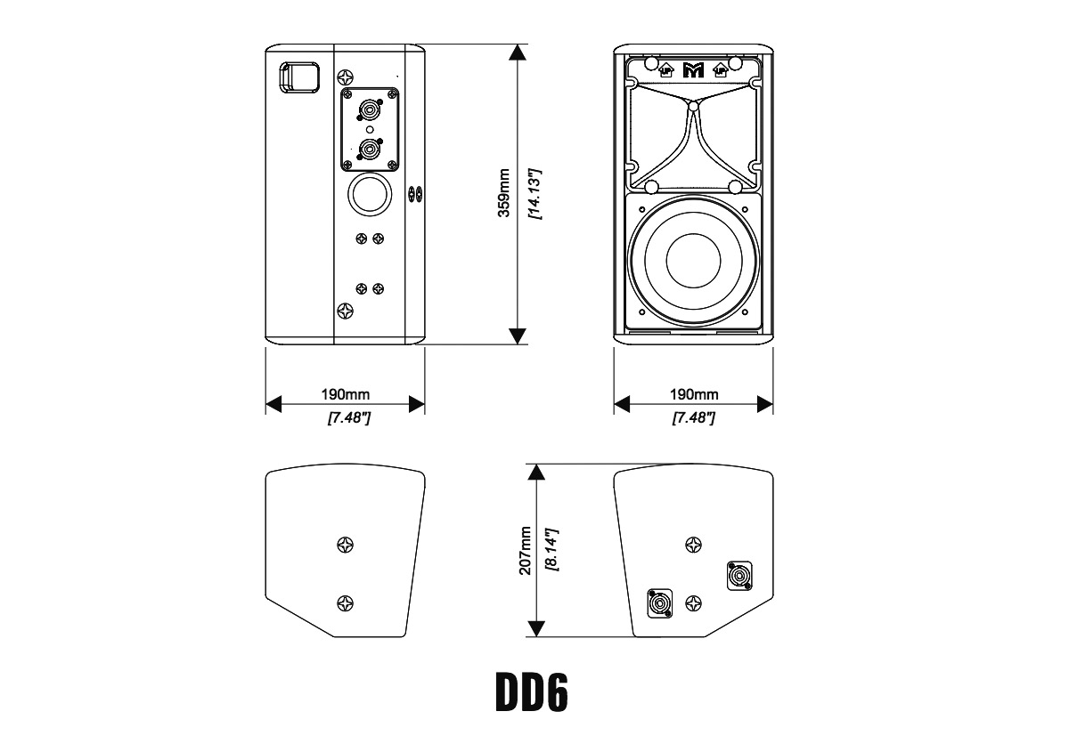 Martin Audio DD6 Tech Drawing
