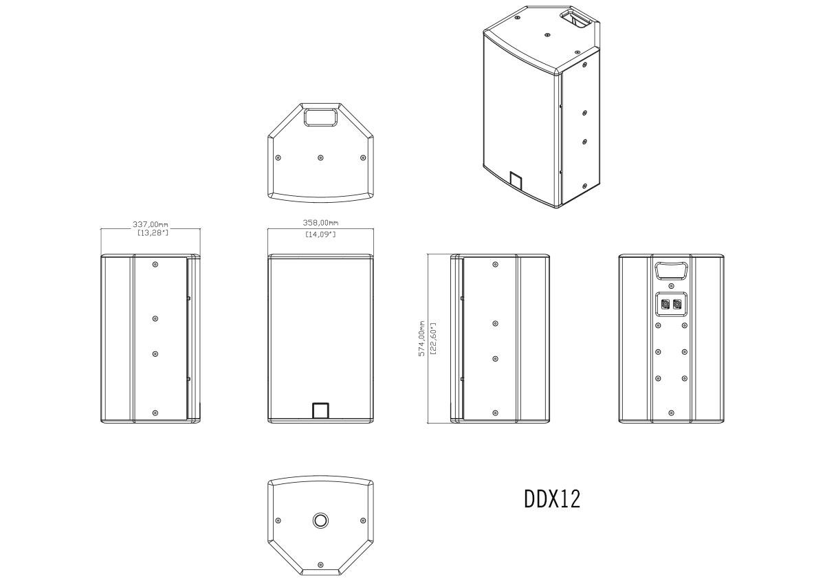 Martin Audio DDX12 Tech Drawing