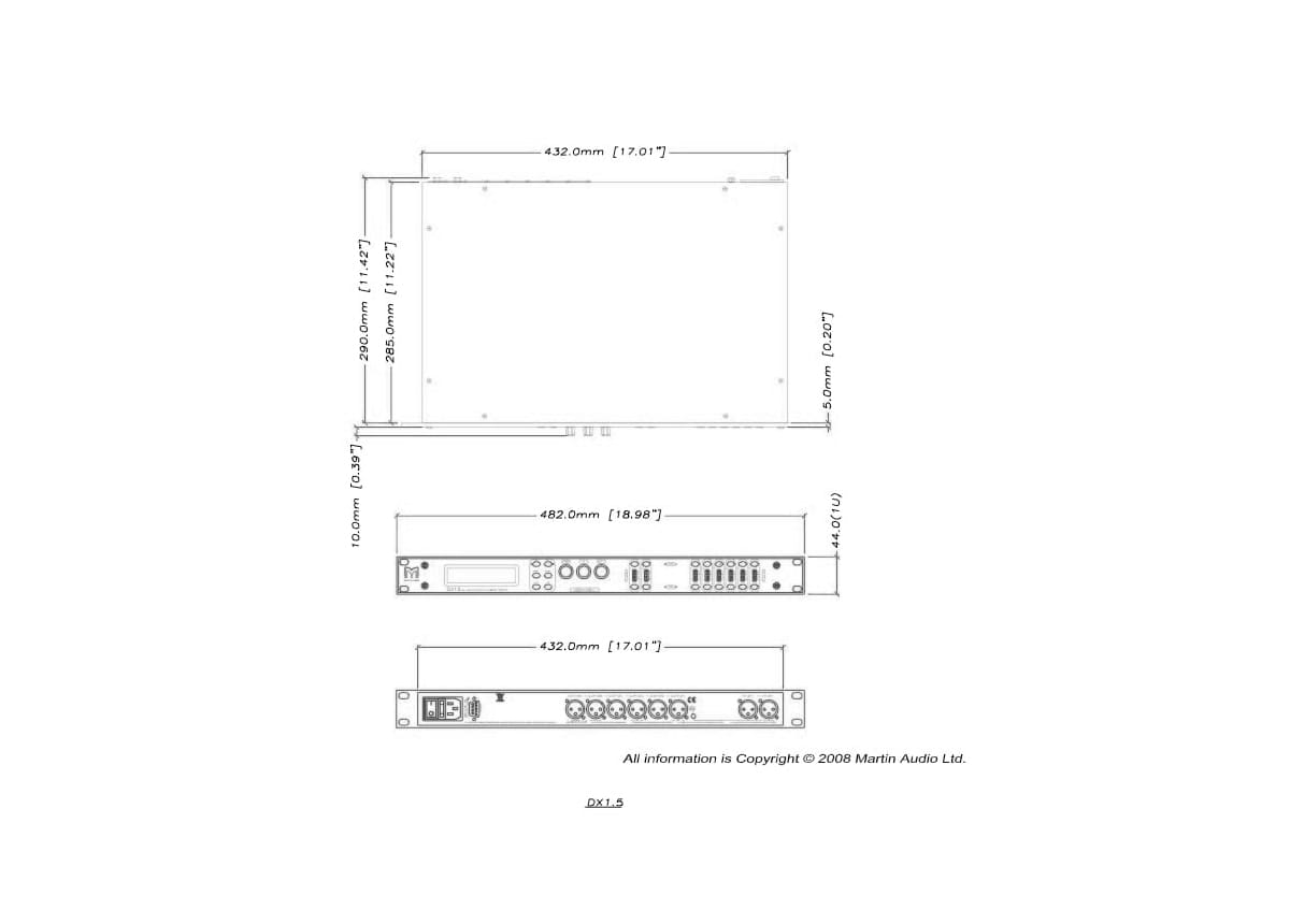 Martin Audio DX1.5 Tech Drawing