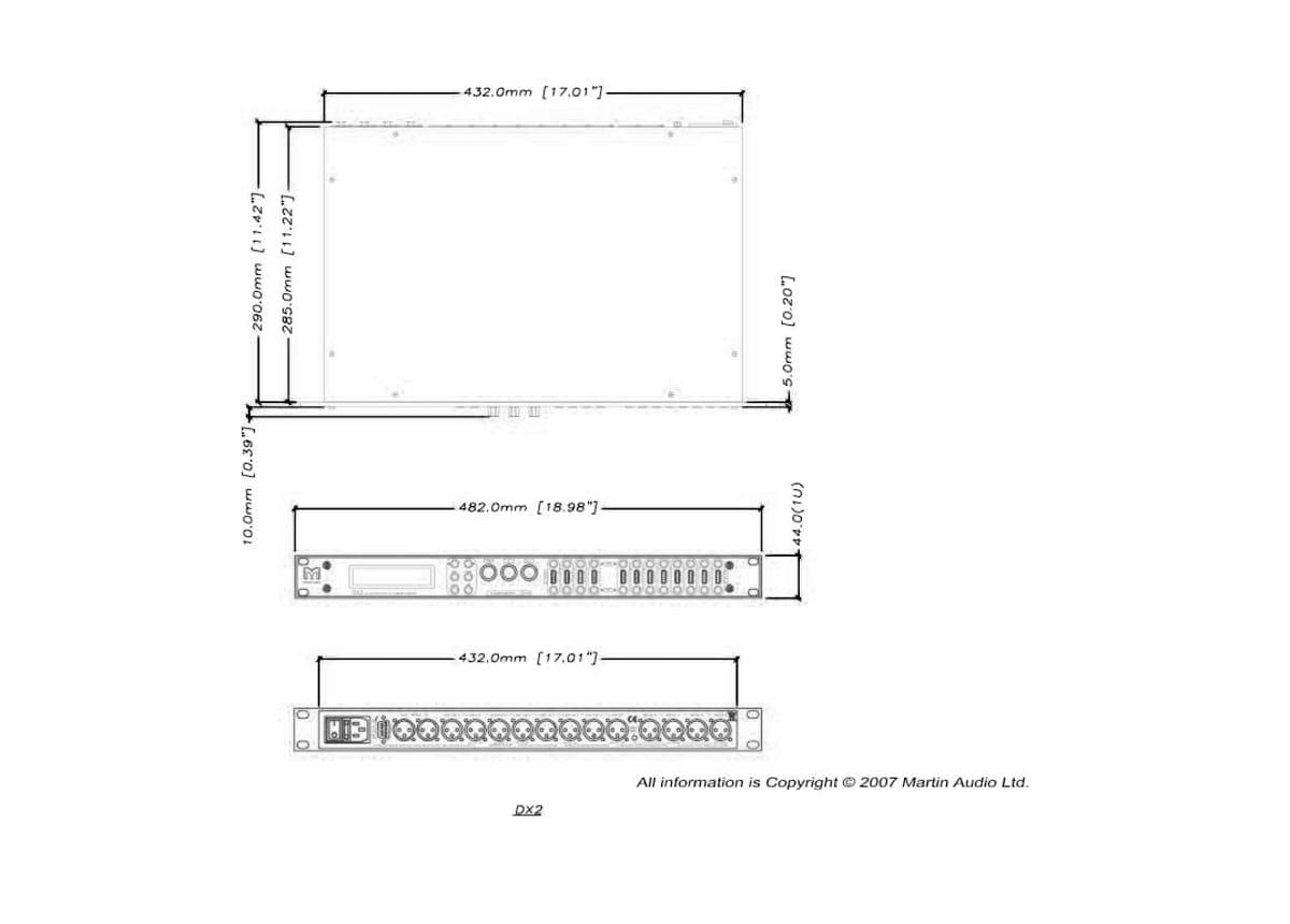 Martin Audio DX2 Tech Drawing