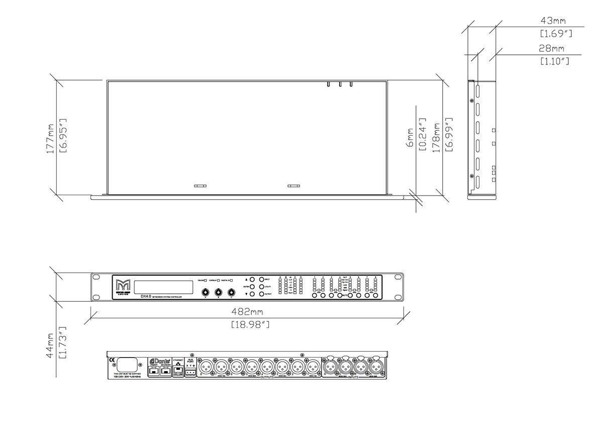 Martin Audio DX 4.0 Tech Drawing