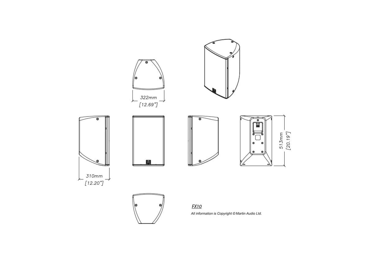 Martin Audio FX10 Tech Drawing