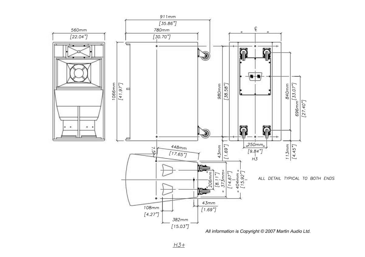 Martin Audio Blackline H3+ Tech Drawing