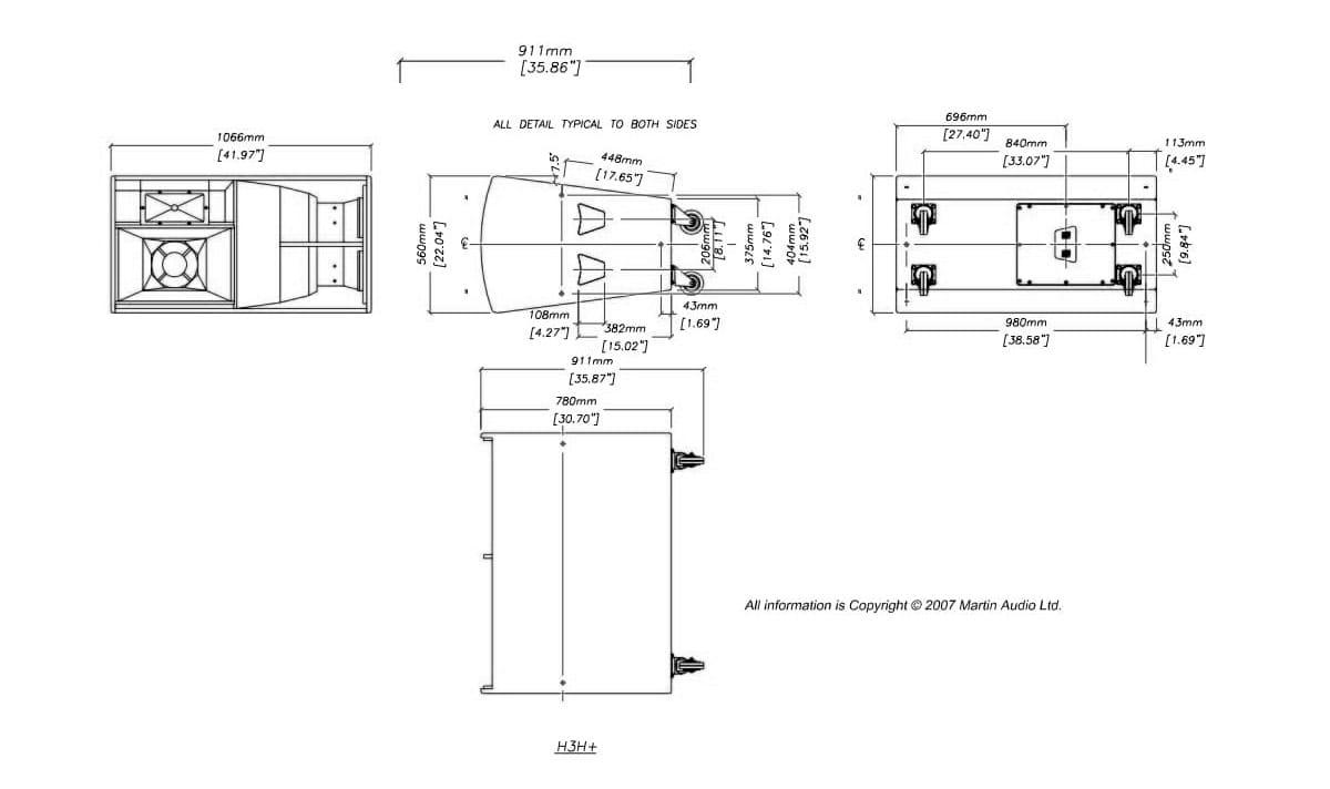 Martin Audio Blackline H3T+ Tech Drawing