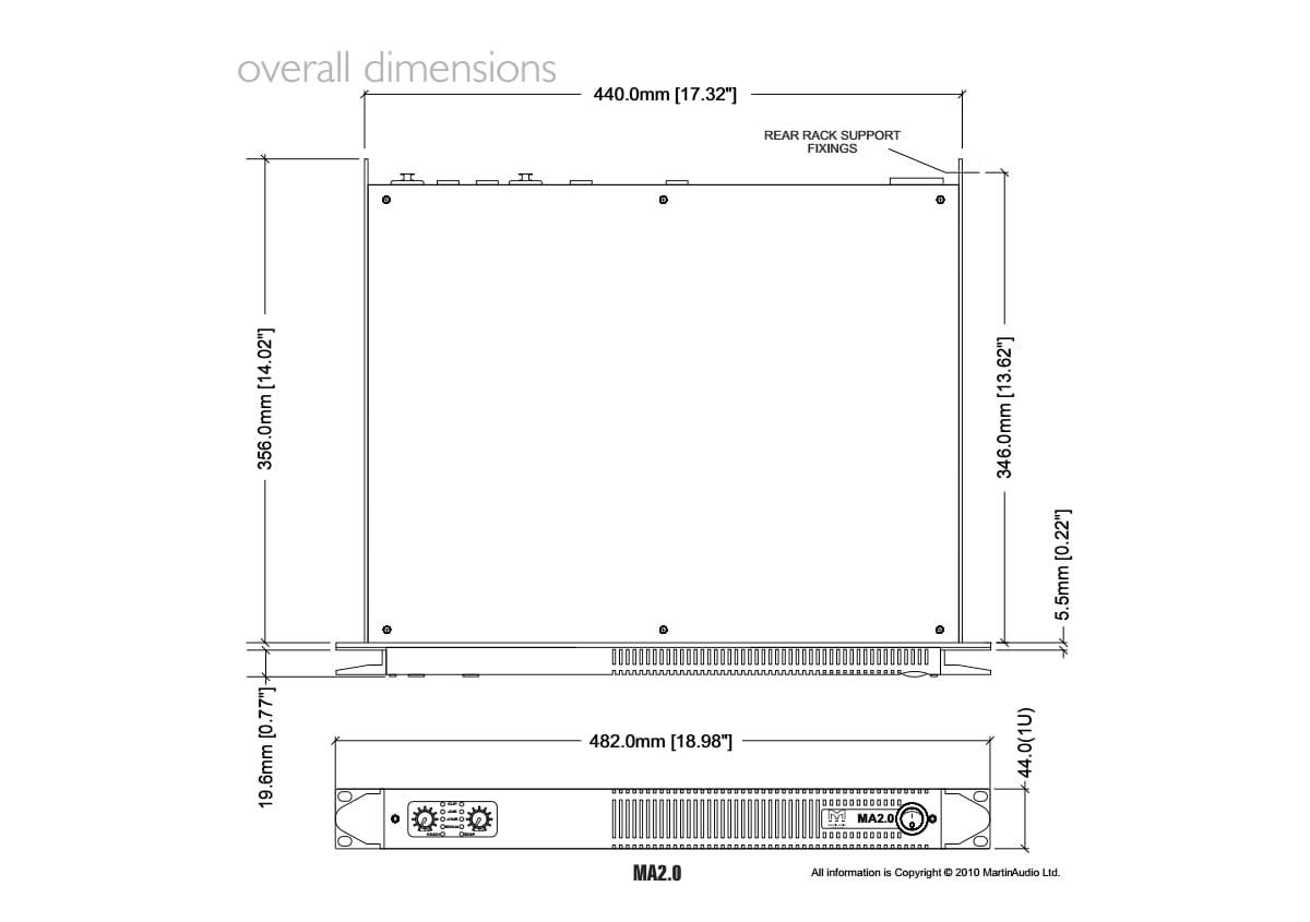 Martin Audio MA2.0 Tech Drawing