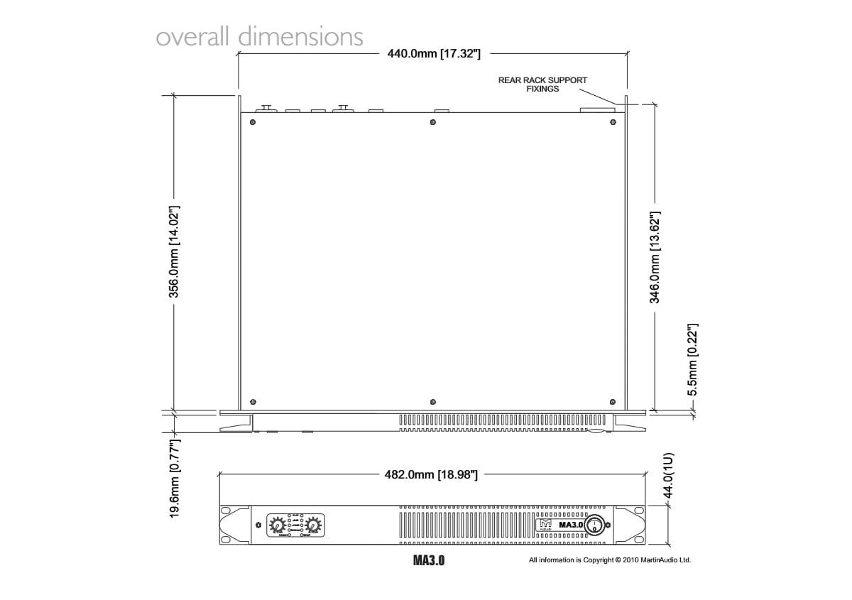 Martin Audio MA3.0 Tech Drawing