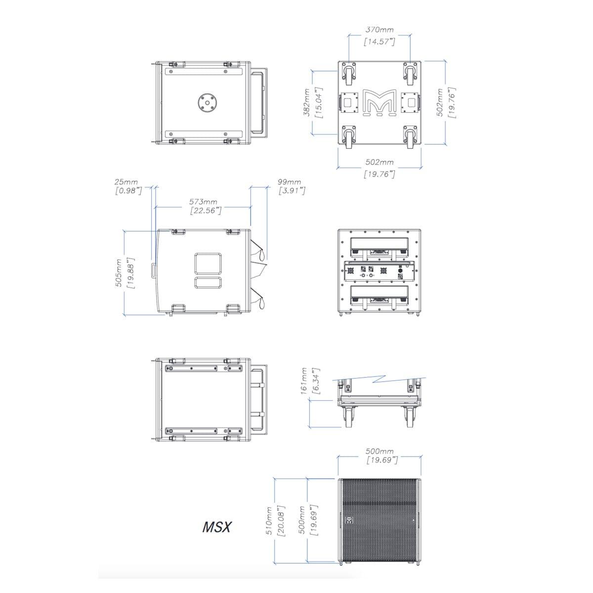 Martin Audio MSX Tech Drawing