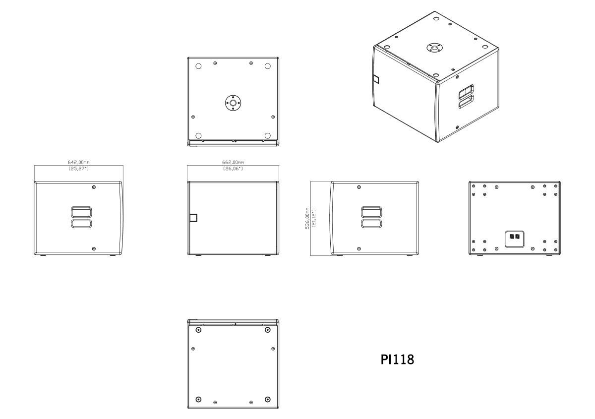 Martin Audio P.I. Series PI118 Tech Drawing