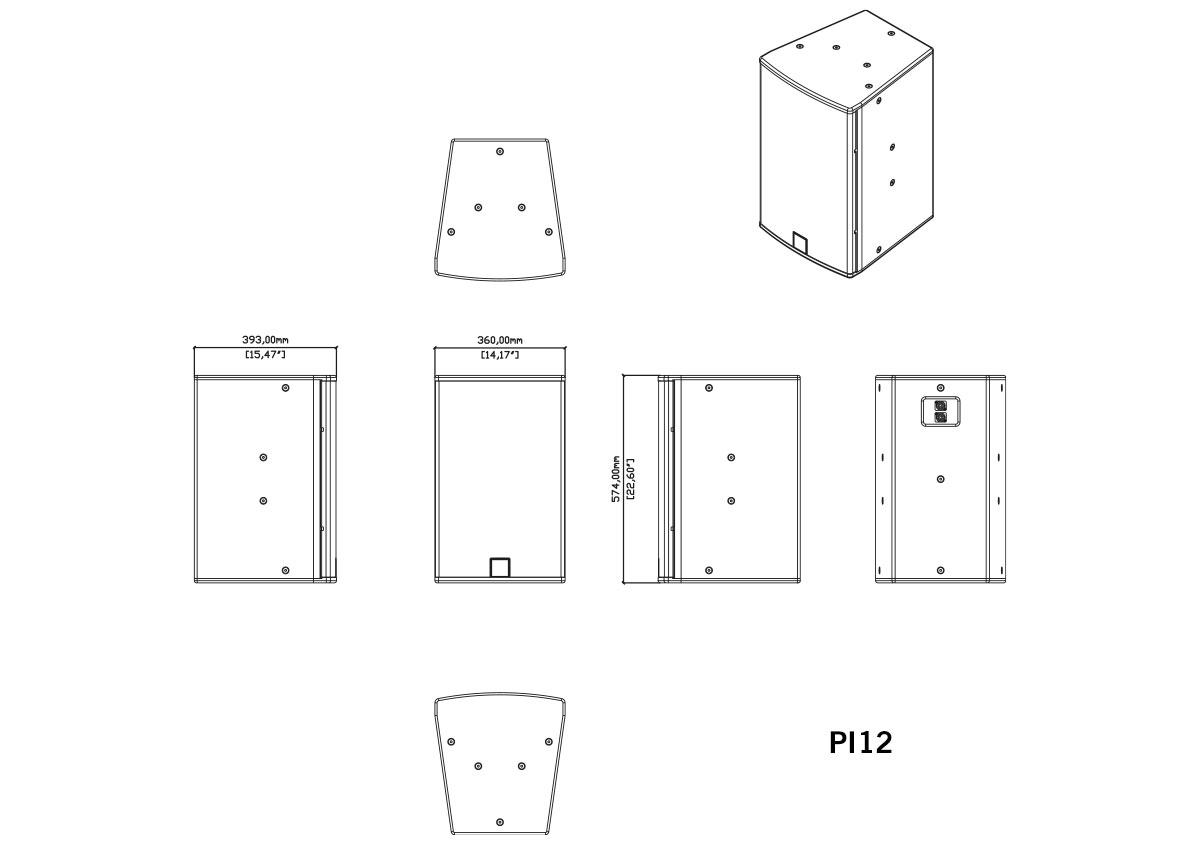 Martin Audio P.I. Series PI12 Tech Drawing