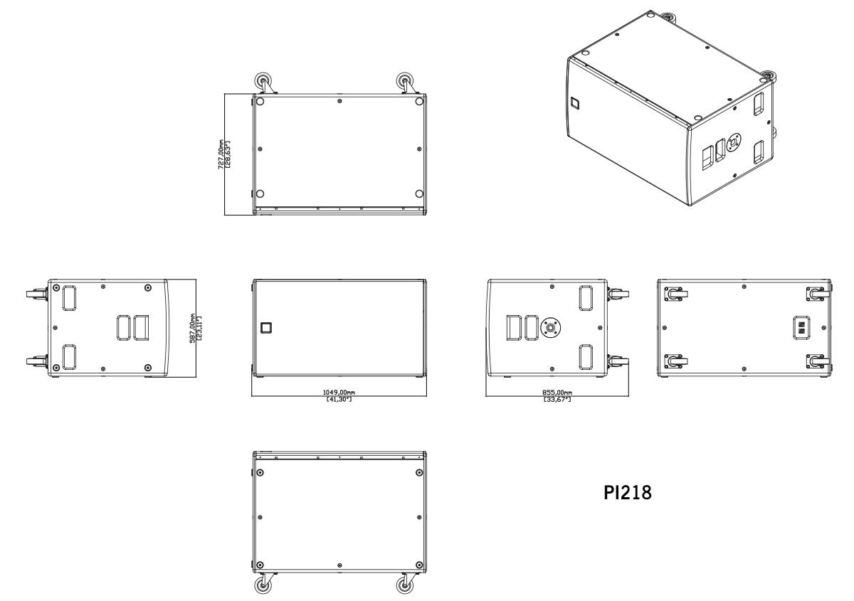 Martin Audio P.I. Series PI218 Tech Drawing