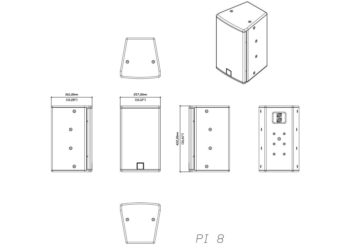 Martin Audio P.I. Series PI8 Tech Drawing