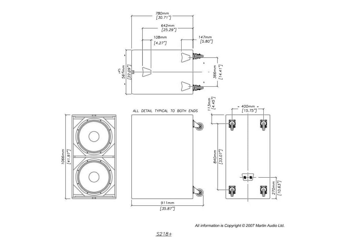 Martin Audio Blackline S218+ Tech Drawing