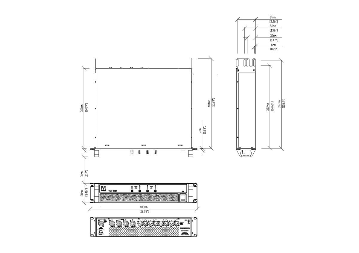 Martin Audio VIA2004 Tech Drawing
