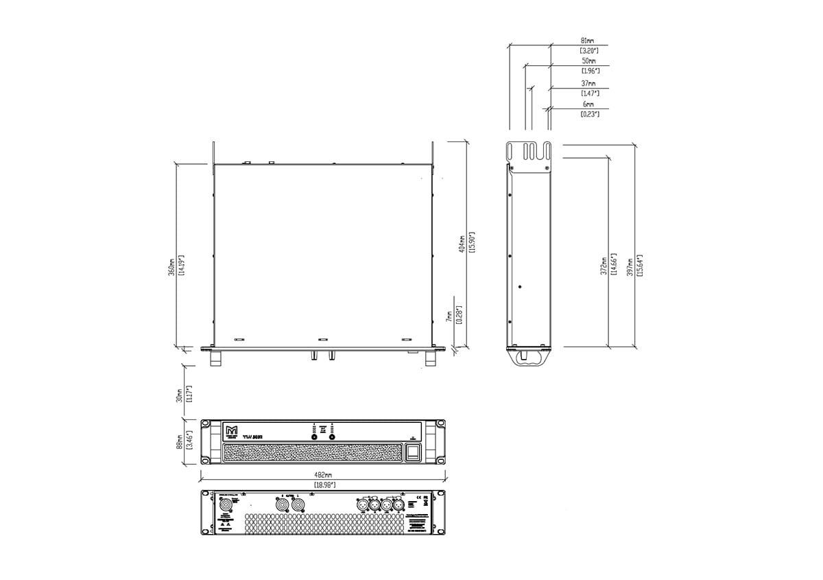 Martin Audio VIA5002 Tech Drawing