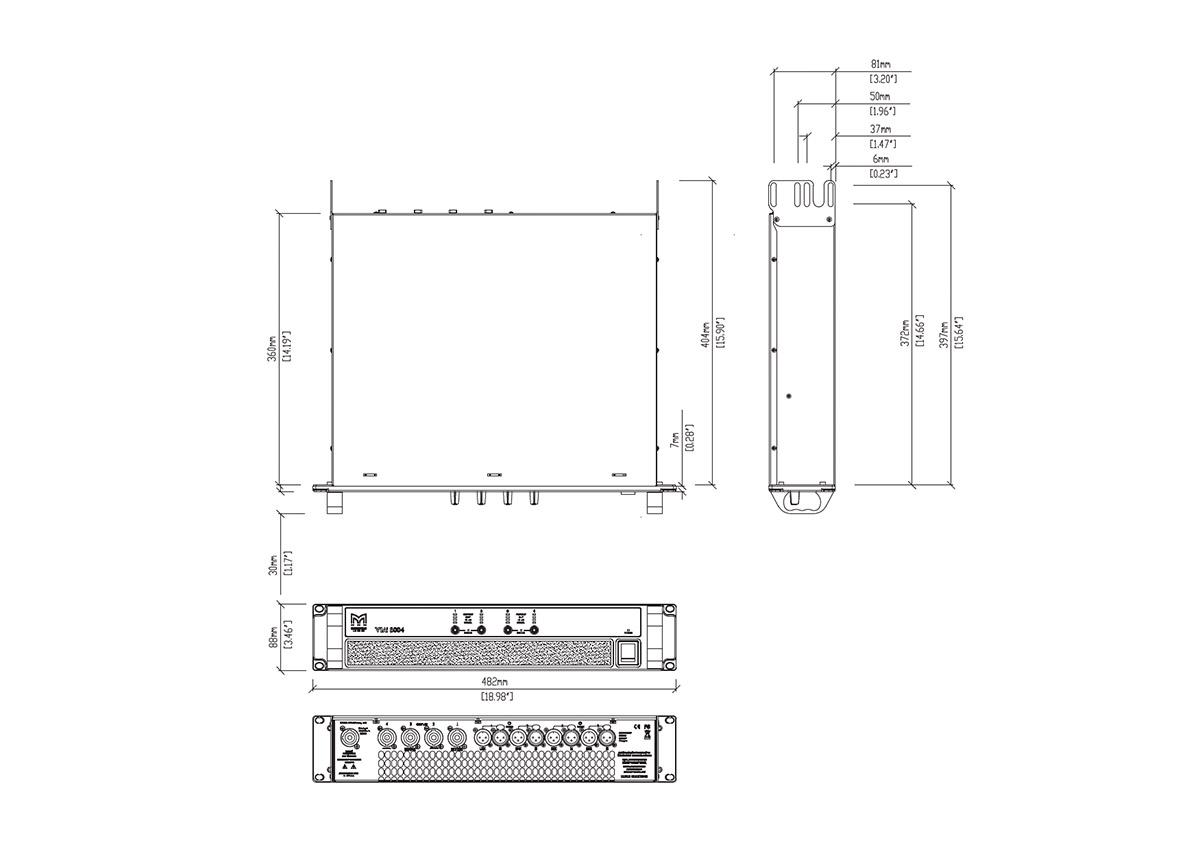 Martin Audio VIA5004 Tech Drawing