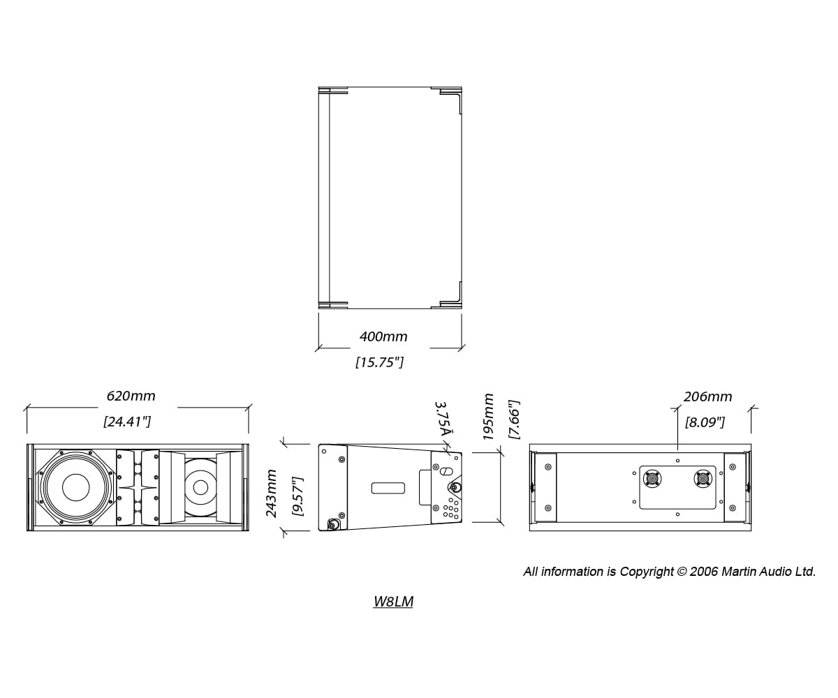 Martin Audio W8LM Tech Drawing