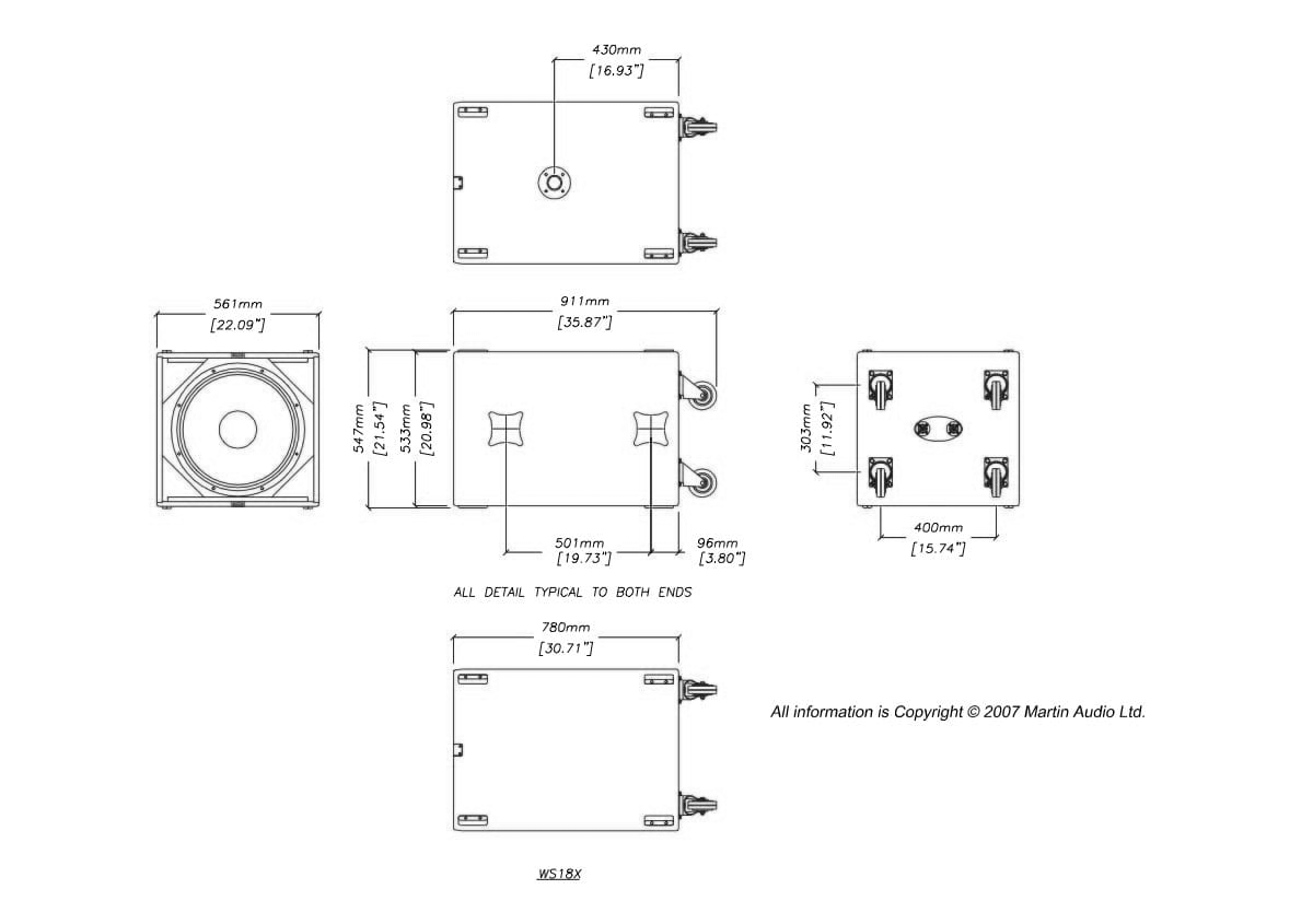 Martin Audio WS18X Tech Drawing