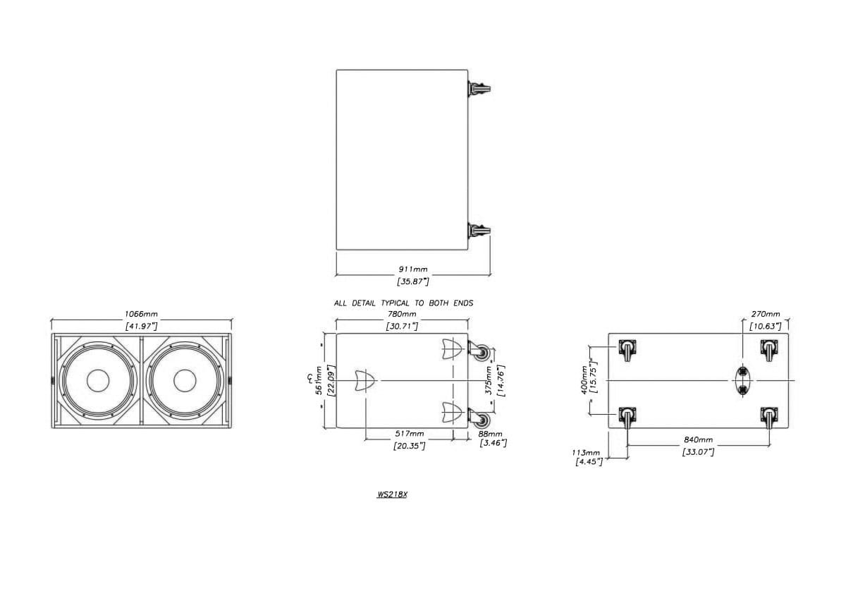 Martin Audio WS218X Tech Drawing
