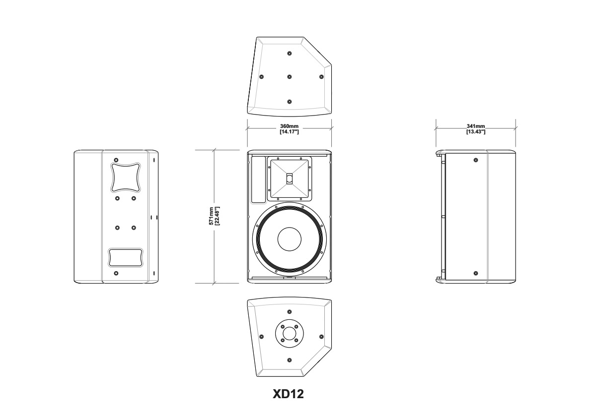 Martin Audio XD12 Tech Drawing
