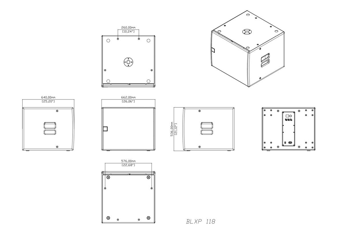 Martin Audio XP118 Tech Drawing